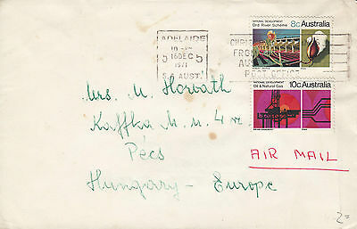 F 1076 Australia 18c National Development stamps 1971 air cover Hungary 18c rate