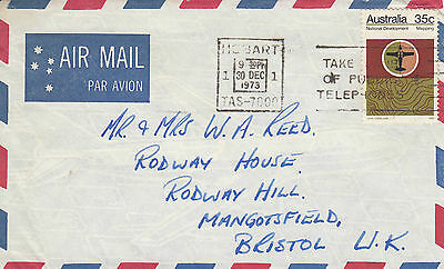 F 1682 Australia 1973 35c National Development Mapping solo stamp air cover UK.