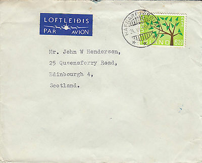 F 540 Iceland  Hafnafjordur cds 1964 CEPT stamp on airmail cover to UK