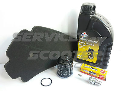 GENUINE APRILIA SPORT CITY 125cc SERVICE KIT, OIL FILTER, SPARK PLUG, AIR FILTER