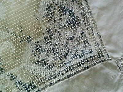 French white embroidered cotton and lace vintage table cloth