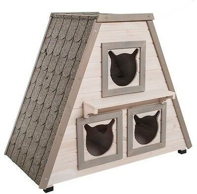 Cat Houses For Outdoor Cats Bed Home Kennel 3 Room Garden Wood Kitten Furniture