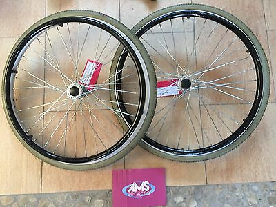 Pair Of Lomax Wheelchair Self Propelled / Propelling Wheels Inc Push Rims Parts