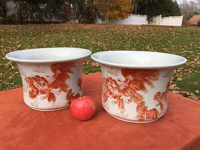 Vintage Pair Set of 2 Chinese FOO DOG Porcelain Planters Calligraphy