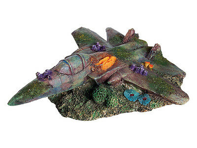 Sunken Fighter Jet Plane Wreck Decoration Ornament for Aquarium Fish Tank