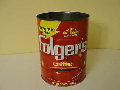 Vintage Folger's Electric Perc 32 Oz. Empty Coffee Can