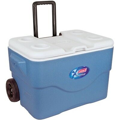Coleman 50QT EXTREME WHEELED COOLER BOX IN BLUE WITH HANDLE