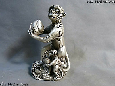 """8"""" China silver carved Fine two monkey offer birthday congratulations Statue"""