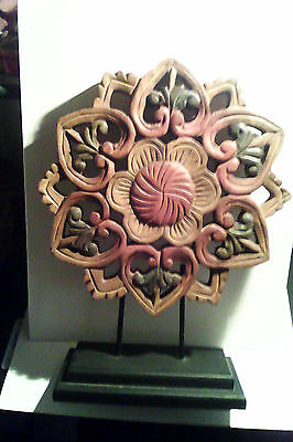 Hand Carved Primitive look wood Decoration India with stand.