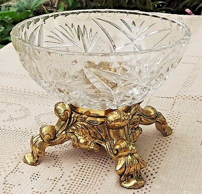VINTAGE 1950's-60's LEAD CRYSTAL DISH W/ ORNATE BRASS FOOTED BASE - WEST GERMANY