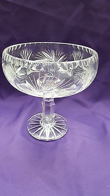 Great Cut Crystal Pedestal Compote Candy Dish