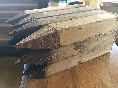 """24 Wooden pegs/stakes, site edging stakes 12"""" long, pegs treated and pointed"""
