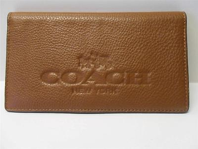 NEW Coach Pebbled Leather Checkbook Cover with Embossed Logo in Saddle Brown