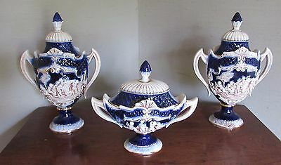 Set of 3 Vintage Console Decorative set ceramic urn blue and white covered dish