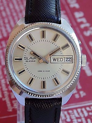 SLAVA VINTAGE MENS MECHANICAL  watch Made in USSR  Day & Date