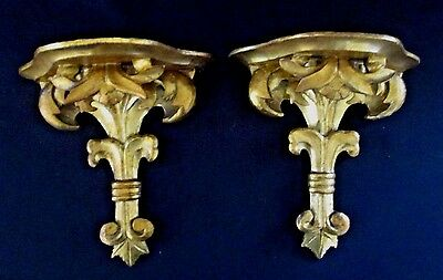 VINTAGE GOLD GILT Fleur de Lis  CARVED WOOD WALL SHELF SCONES  - MATCHING PAIR