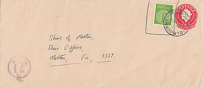 F 747 Uprated 4c postal stationery Victoria 1c stamp duty 1972 cover; tax mark