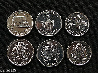 Malawi sets of coins. 1 set of three coins 2012 UNC Animal