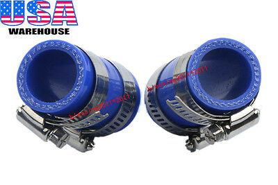For Yamaha Banshee All Years Rubber Exhaust Pipe Clamps For fmf,dg,etc Blue 2PCS