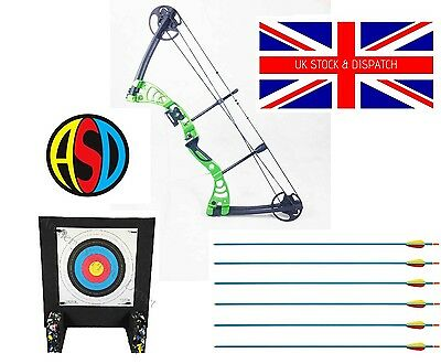 ASD Green Monster Green Archery Compound Bow Package with Arrows & Target
