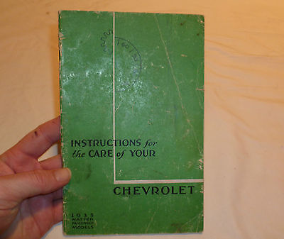 1935 Chevrolet Passenger Cars Owners Manual