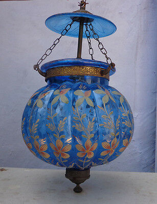Vintage Blue Enamelled Gilt Work Bell Jar Glass Hall Lantern Chandelier Lamp