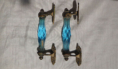 Antique Pair Blue Cut Glass Brass Door Handles