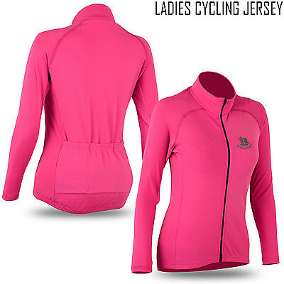 Ladies Cycling Jersey Winter Thermal Long Sleeve Women Cycling Jacket - PINK