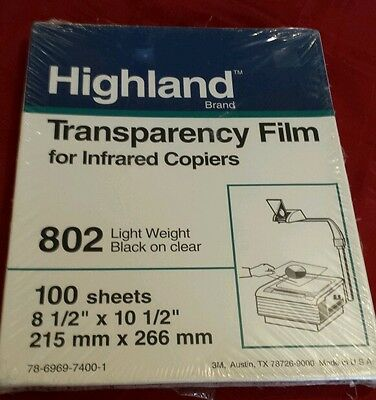 HIGHLAND TRANSPARENCY FILM CLEAR  #802 Factory Sealed 100 Sheets * NEW Free Ship