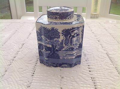 spode blue italian Tea Caddy New and Boxed