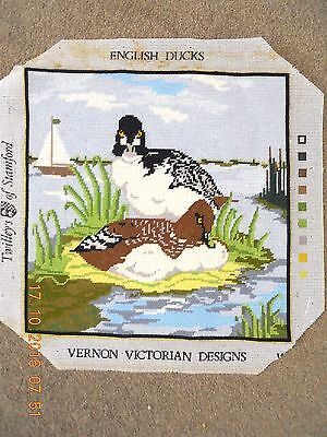 Lovely hand-stitched completed wool tapesty English Ducks by Vernon Victorian De