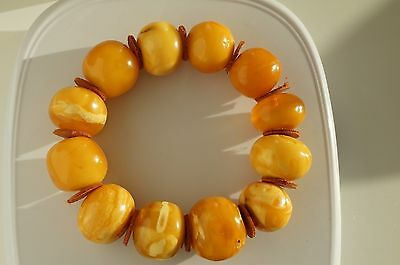 ANTIQUE BALTIC SEA AMBER BRACELET 46 GRAMS beeswax white color.我的微信amber7771988