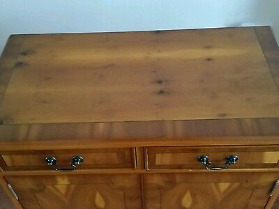 YEW REPRODUCTION CABINET (USED) 2 DRAWERS/2 DOORS 76cm(W) x 40(D) x80 (H) EX CON