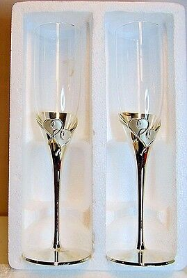 """New Lenox """"true Love"""" Pair Of Fluted Clear Glass Champagne Glasses Silver Plated"""
