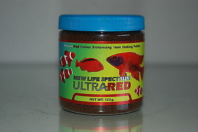 New Life Spectrum Ultra Red Formula 125 gram Tub 1mm Sinking Pellet Size