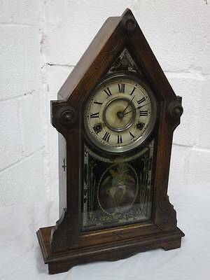 VICTORIAN AMERICAN TURRET MANTEL WINDUP, CHIMING CLOCK With PENDULUM & KEY