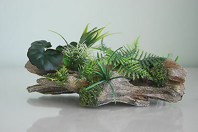 Detailed Wood & Garden with Plants Decoration For  All Aquariums 24 x 8 x 6cms