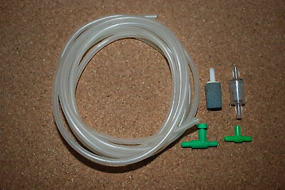 Complete Aquarium Small Air Kit Including Tubing Tee Valves and Airstone
