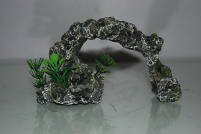 Aquarium Small Rock Arch & Plants 16x5.5x9.5 cms Grey For All Aquariums