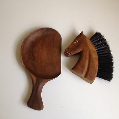 French Brush & Tray Vintage Treen Horses Head Quirky Christmas Gift