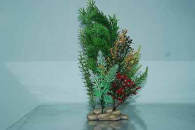 Aquarium Plants Pebble base 10cm Base and 30 cms High Greens & Red in Colour