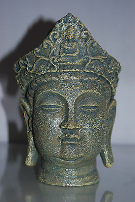 Aquarium Large Ancient Buddha Head Stone Ruin Ornament 14 x 13 x 22 cms