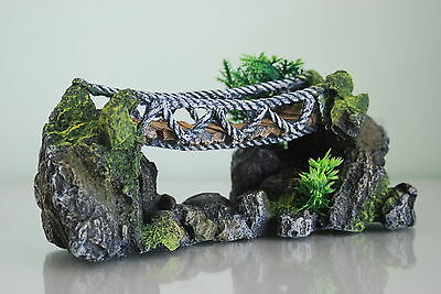 Aquarium Large Detailed Rope Bridge & Plants Decoration 25 x 10 X 12  cms