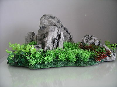 Aquarium Realistic  Large Rock Formation  with Grass Theme 33 x 18 x 15 cms