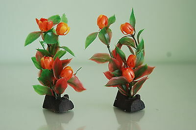 Aquarium Plant 2 x Red Green Plant With Flowers 4 Inches With Log Weighted Base