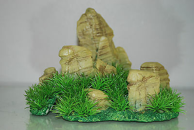 Aquarium Realistic  Large Rock Formation  with Grass Theme 24 x 20 x 18 cms
