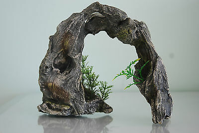 Aquarium Large Driftwood Arch & Plants 24 x 7 x 18 cms For All Aquariums