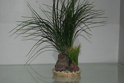 Aquarium Green Grass and Rocks 11 x 11 x 30 cms Suitable For All Aquariums