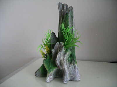 Aquarium Detailed Trunk Formation Ornament  & Plants 17.5 x 14.5 x 28 cms