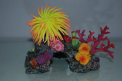 Aquarium Coral with Yellow & Orange  Anemone On Coral Rock 16 x 10 x 12 cms